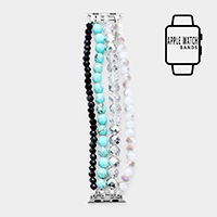 Natural Stone Detail Multi Strand Bead Apple Watch Band