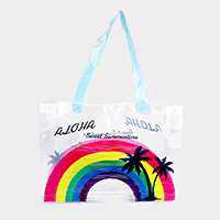 Rainbow Aloha Print Transparent Tote Bag