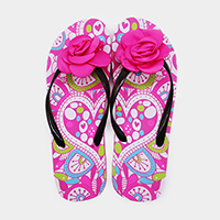 Flower Embellished Patterned Flip Flop Sandals