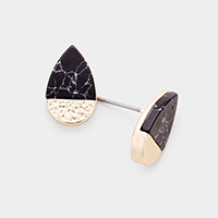Natural Stone Accented Teardrop Stud Earrings