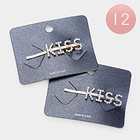 12PCS - 'Kiss' Crystal Hair Bobby Pins