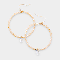 Cube Beaded Open Circle Clear Stone Dangle Earrings