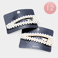 12PCS - Pearl Bubble Triangle Hair Barrettes