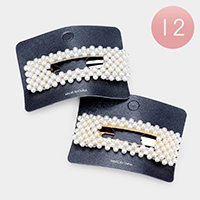 12PCS - Pearl Bubble Rectangle Hair Barrettes