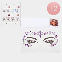 12PCS - Crystal Marquise Face Body Jewelry Gem Stickers