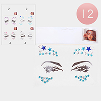 12PCS - Crystal Star Face Body Jewelry Gem Stickers
