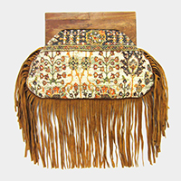 Boho Sequin Wood Handle Clutch Bag With Suede Tassel