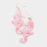 Celluloid Acetate Seahorse Dangle Earrings