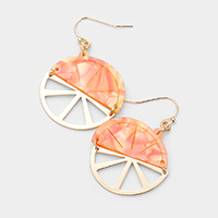 Celluloid Acetate Orange Dangle Earrings