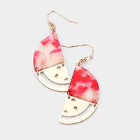 Celluloid Acetate Watermelon Dangle Earrings