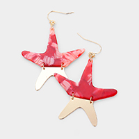 Celluloid Acetate Starfish Dangle Earrings
