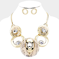 Snake Celluloid Acetate Glass Stone Metal Statement Necklace