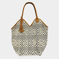 Boho Pattern Suede Tassel Shoulder / Tote Bag