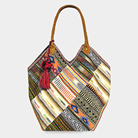 Boho Pattern Tassel Pom Pom Shoulder / Tote Bag
