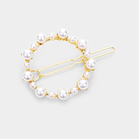 Pearl Open Circle Barrette