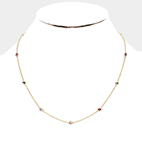 Brass Round Colorful Cubic Zirconia Station Necklace