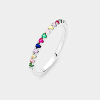 Rhodium Plated Colorful Cubic Zirconia Ring