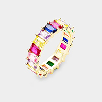 Gold Plated Colorful Cubic Zirconia Ring