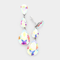Teardrop Glass Crystal Drop Evening Clip On Earrings