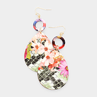 Celluloid Acetate Open Circle Patterned Teardrop Earrings