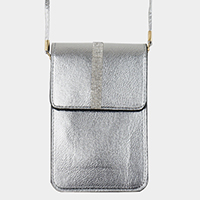 Rhinestone Pave Touch View Cell Phone Cross Bag