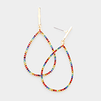 Colorful Rhinestone Open Teardrop Earrings