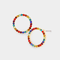 Colorful Rhinestone Open Circle Stud Earrings