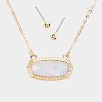 Mother of Pearl Hexagon Stone Pendant Necklace