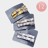 12 Set of 2 - Celluloid Acetate Hair Barrettes