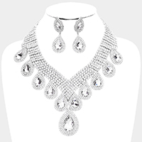 Teardrop Stone Accented Statement Evening Necklace