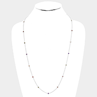 Brass Round Cubic Zirconia Station Long Necklace