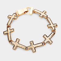 Hammered Metal Cross Magnetic Link Bracelet
