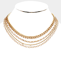 Mixed Multi Metal Chain Necklace