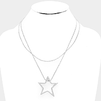 Metal Open Star Pendant Layered Necklace