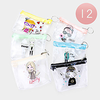 12PCS - Pretty lady Clear Transparent  Pouch Bags