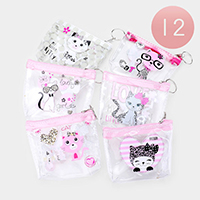 12PCS - Cute Cat Clear Transparent  Pouch Bags