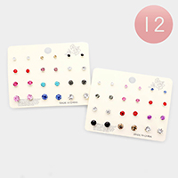 12 SET OF 12- Assorted Stud Earrings