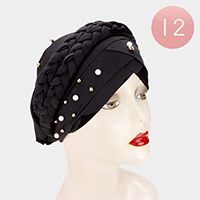 12PCS - Pearl Metal Ball Detail Braid Turban Hats