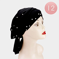 12PCS - Pearl Detail Ribbon Turban Hats
