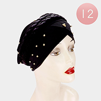 12PCS - Metal Ball Detail Braid Turban Hats