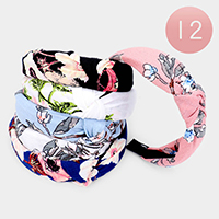 12PCS - Flower Pattern Print Fabric Knot Headbands
