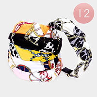 12PCS - Pattern Print Fabric Knot Headbands
