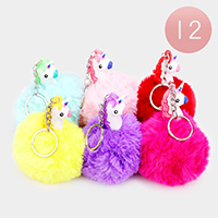 12PCS - Unicorn Pom Pom Key Chains