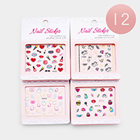 12 Sheets - Mixed Cute Pattern Nail Stickers