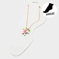 Watercolor Wood Turtle Anklet