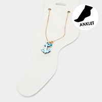 Watercolor Wood Anchor Anklet