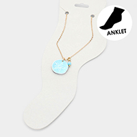 Watercolor Wood Sand Dollar Anklet