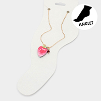 Watercolor Wood Strawberry Anklet