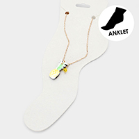 Watercolor Wood Pineapple Anklet