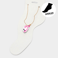 Watercolor Wood Flamingo Anklet